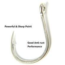 THKFISH 2 Bags Jigging Sea Fishing Hooks Saltwater 9985 #3/0 #6/0 #7/0 #9/0 Big UP Eye Hooks Crank Hook Fishing Tackle