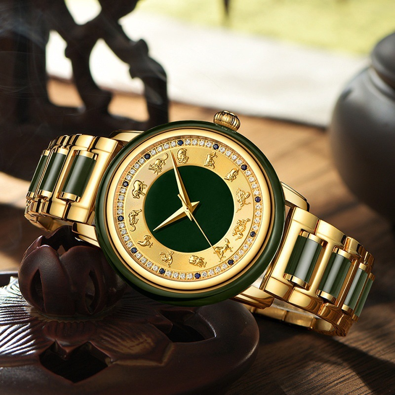 2019 Hot Sale Sale Marketing Hetian Jade Watch Chinese Zodiac Table Between Patron Saint Lovers Automatic Machinery Steel