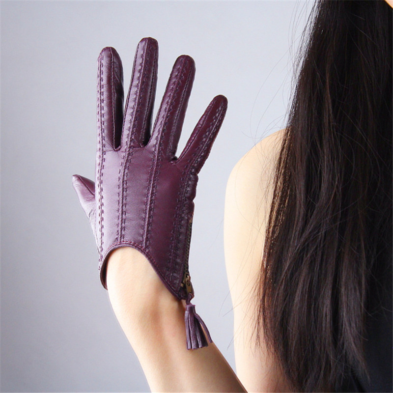 Touchscreen Gloves Genuine Leather Imported Goatskin Tassel Zipper Short Style Women Gloves Female Fashion Driving Mittens TB08