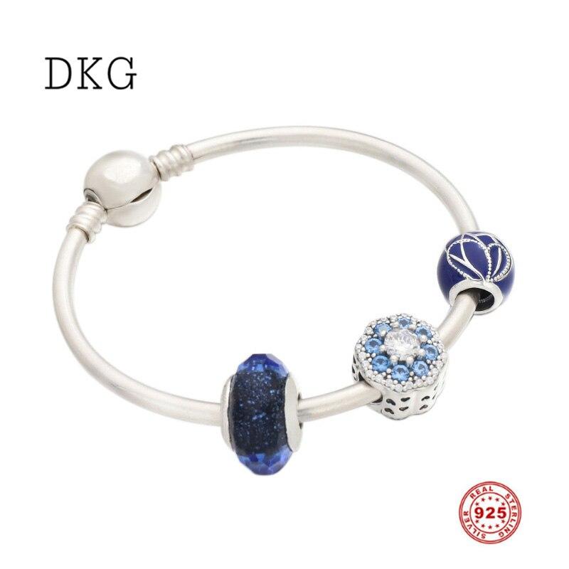 2109 nouveau 925 argent Sterling bleu papillon aile étincelle fleur charme ensemble Bracelet Fit femmes Original charme bijoux à bricoler soi-même faisant