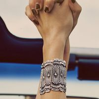 Europa en de Verenigde Staten FP Hippie Oude Zilveren Carving Overdreven Chain Armband Retro Nationale India Thailand Sieraden