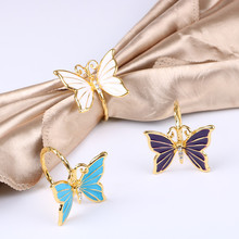 6PCS gold alloy butterfly napkin buckle hotel home decoration wedding table supplies ring white / purple