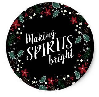 1.5inch Making Spirits Bright Holiday Garland Sticker фото