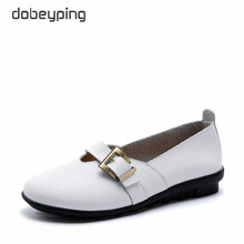 dobeyping New Spring Autumn Woman Shoe Genuine Leather Women Flats Slip On Womens Loafers Buckle Female Shoes Large Size 35-44
