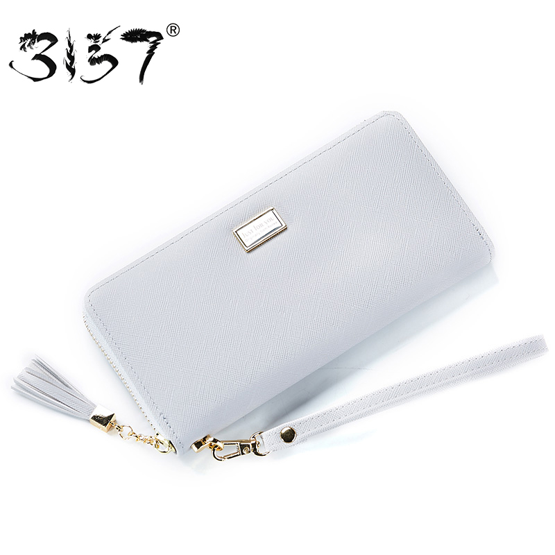 3157 High Capacity Fashion Women Wallet Tassel Zipper Wristlets Female Leather Long Purse For Girl Cards Holder Standard Wallets