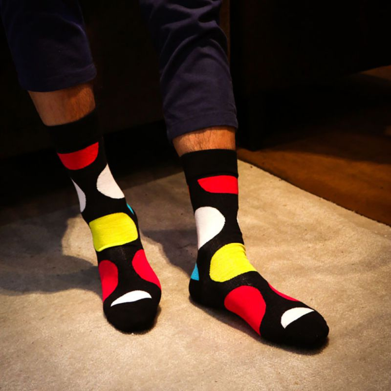 Hot Print Patchwork / Striped Mens Socks Warm Harajuku Stitching Antiskid Casual Cotton Knee-High Sock Crew Socks 13 Colors