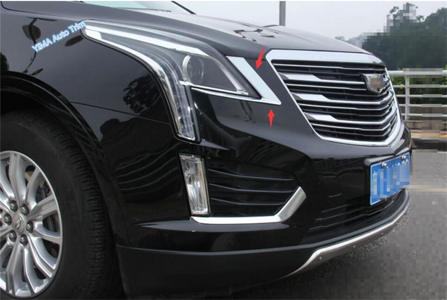 Exterior For Cadillac XT5 2016 2017 2018 ABS Bright Style Front Headlight Head Light Lamp Eyelid Eyebrow Lid Cover Trim 2 PCS scooter abs electroplate front headlight headlamp head light lamp small mask cap cover shield large for yamaha bws x 125 plating