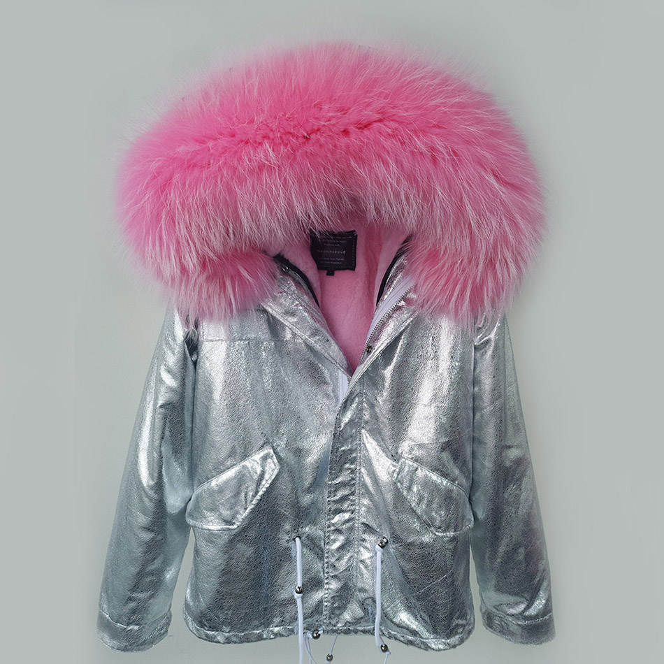 YOUMIGUE New 2016 Winter Coats Women Jackets Real Large Raccoon Fur Collar Thick Ladies Down & Parkas Silver color faux fur coat
