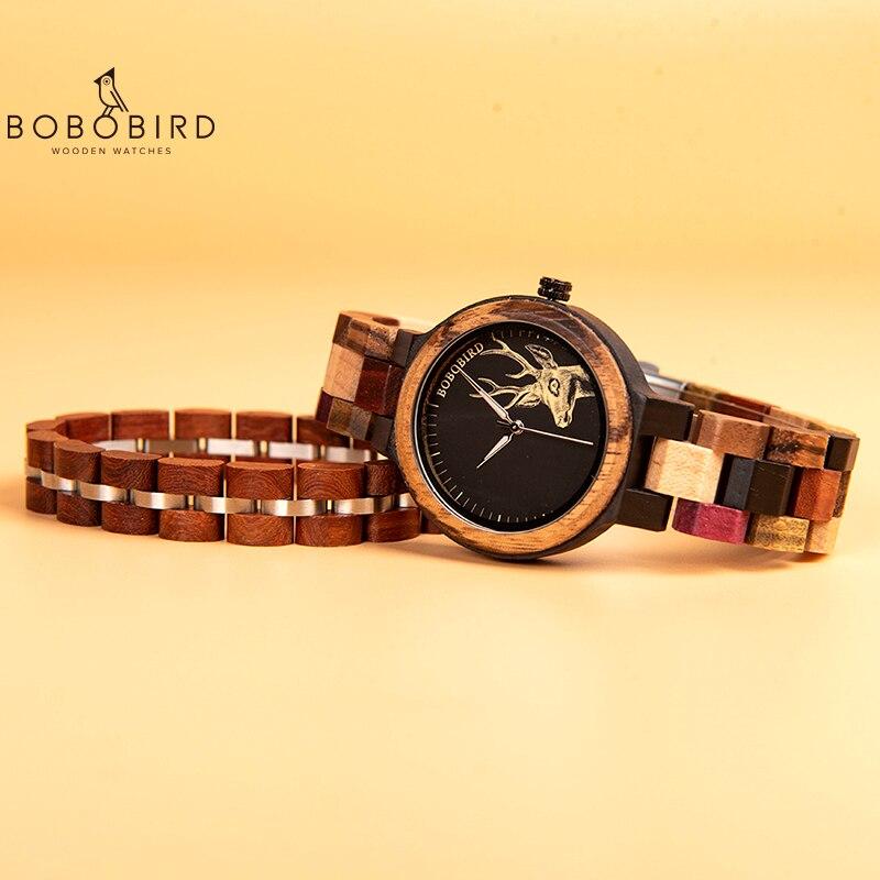 BOBO BIRD Colorful Wood Women Watch With Bracelet relogio feminino Lady Quartz Wristwatch In Gift Box