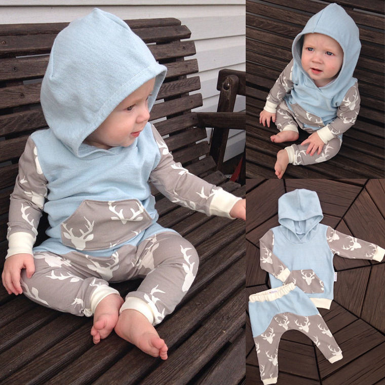 2Pcs Newborn Baby Girls Boys Clothes Set Long Sleeve Hooded Coat Tops Deer Pants Baby Boy Outfits Set organic airplane newborn baby boy girl clothes set tops t shirt pants long sleeve cotton blue 2pcs outfits baby boys set