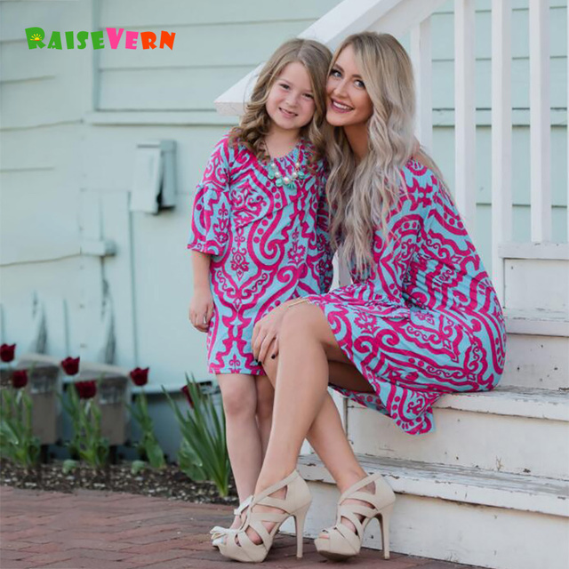 5430d9b649 Mommy And Me Family Matching Outfits Mother Daughter Floral Dresses Clothes  Mom Girls Kids Parent Children Fashion Dress