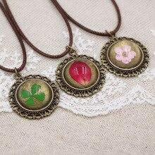 06acfbb39093 Nueva 7 cordón del color real flores secas collar mujeres Niñas vintage  hecho a mano epoxi prensado flor joyería