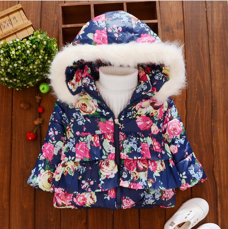 0-3 year-old fashion female baby winter thick warm flowers cotton