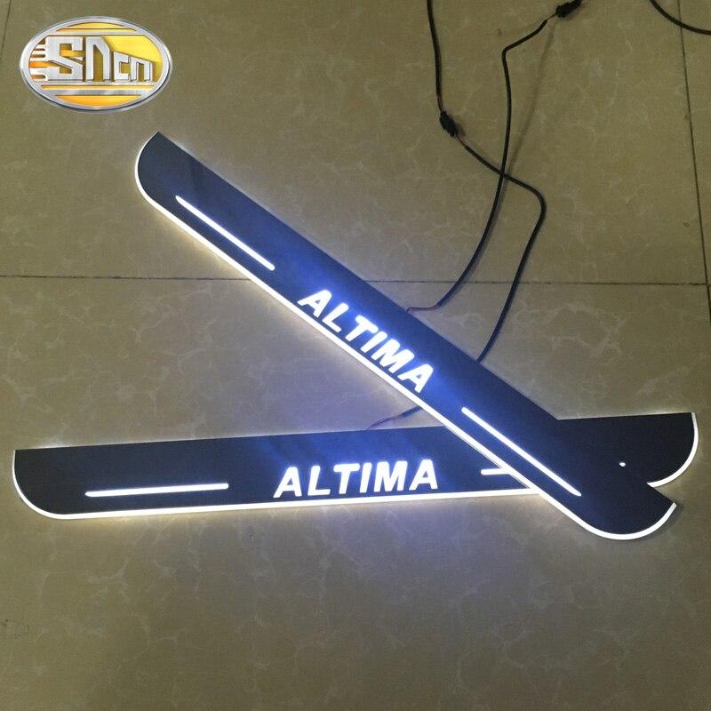 SNCN 4 pièces acrylique mobile LED bienvenue pédale voiture éraflure plaque pédale porte seuil voie lumière pour Nissan Altima 2015 2016 2017 2018 - 2