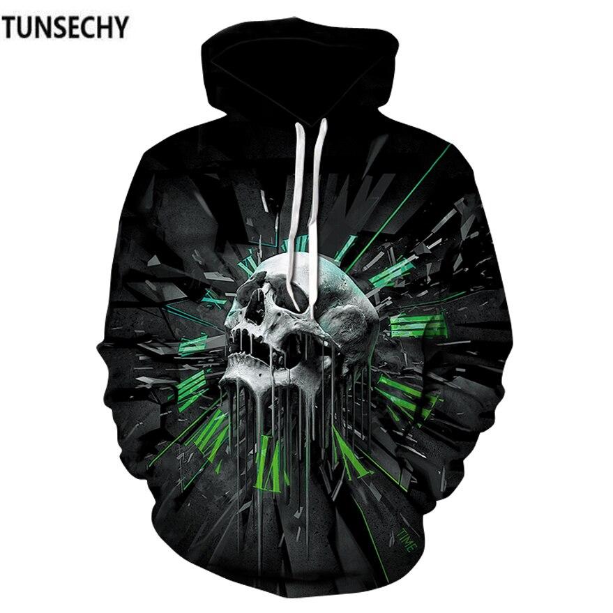 TUNSECHY Brand 2018 Hoodies Skull Men Hoodies Sweatshirts 3D Printed Funny Hip HOP Hoodies Novelty Hooded Autumn Tracksuits