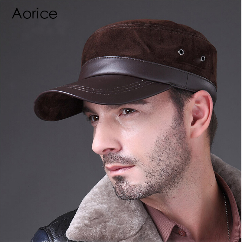 HL026 New genuine leather hat/cap brand baseball caps/hats lambskin sheep skin Nubuck Grin suede
