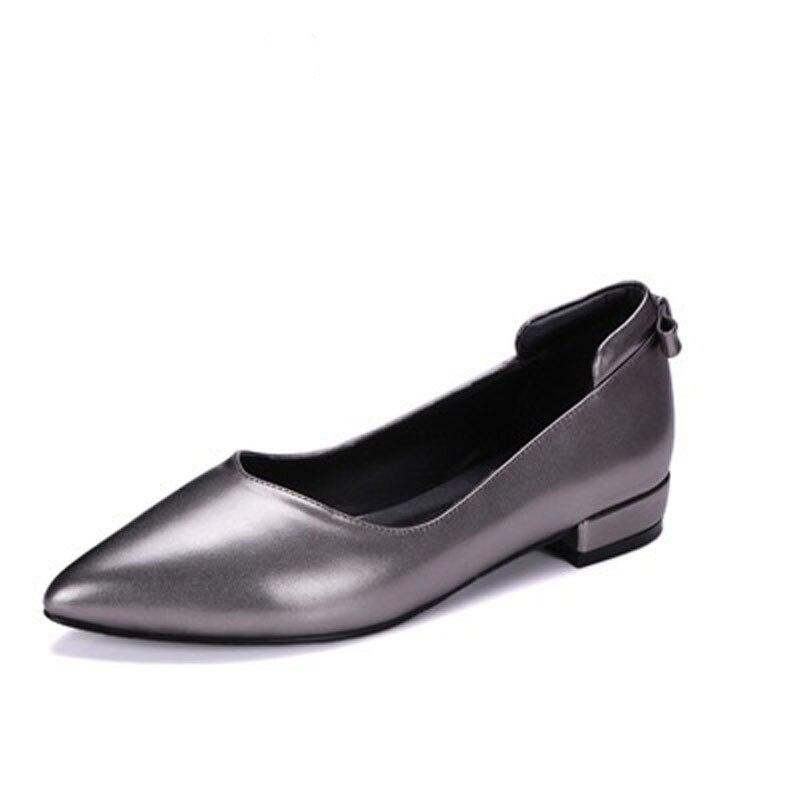 2018 Новый Для женщин обувь Для женщин пикантная женская обувь Острый носок Классическая обувь Для женщин натуральная кожа леди Модная обувь ...