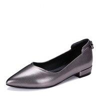2018 Новый Для женщин обувь Для женщин пикантная женская обувь Острый носок Классическая обувь Для женщин натуральная кожа леди Модная обувь на плоской подошве обувь