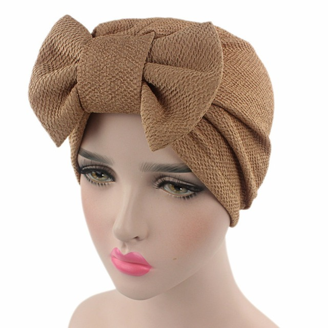 93d000bcfc7 Women s Hats Muslim Indian Style Kerchief Covering HeadHat Confinement Cap  Solid Color Bowknot Style Eucomis Muslim Hat