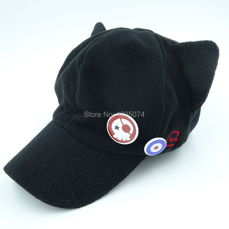 cos ngelion cat ear hat peaked baseball cap black ebay