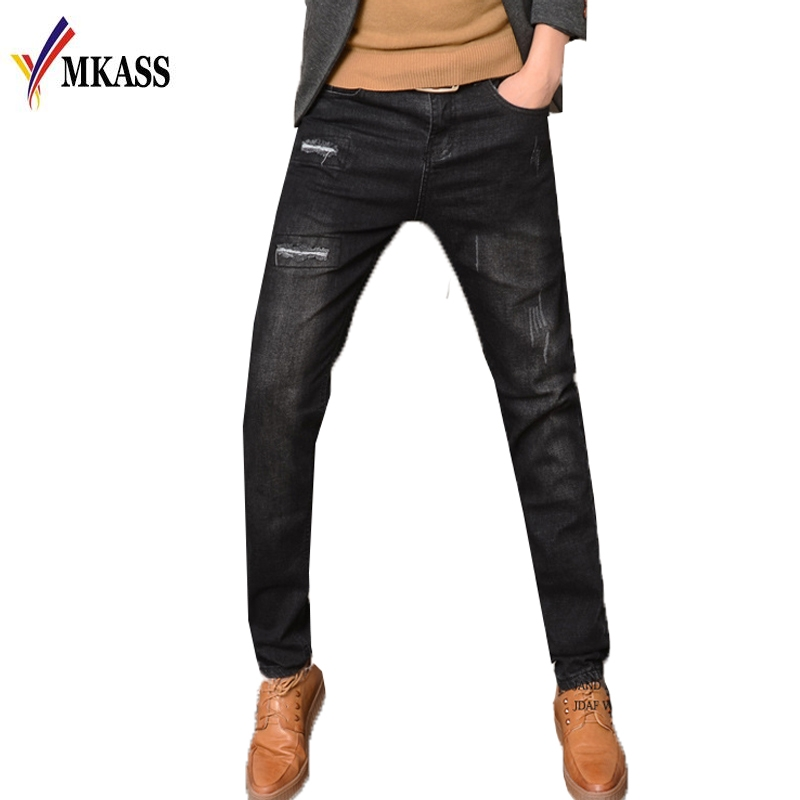 Spring Autumn Hot Sale Brand Men Jeans Fashion Slim Fit Stretch Patch Ripped Jeans Mens Black Jeans Plus Size 28-36 cn 0ygd9h ygd9h 0ygd9h davm9mmb6g0 for dell vostro 1015 laptop motherboard gm45 ddrii gma x4500