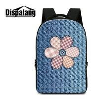 Dispalang Denim Flower Print School Back Pack For Children Large Capacity Laptop Backpacks For Men Travel