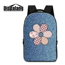 Dispalang джинсовая цветочный печати школа back pack для детей большой емкости ноутбук рюкзаки для мужчин путешествия жан рюкзак mochilas