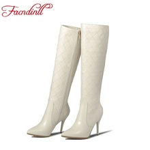 High quality genuine leather+pu thin high heels women riding boots spring autumn long boots women embroider line knee high boots