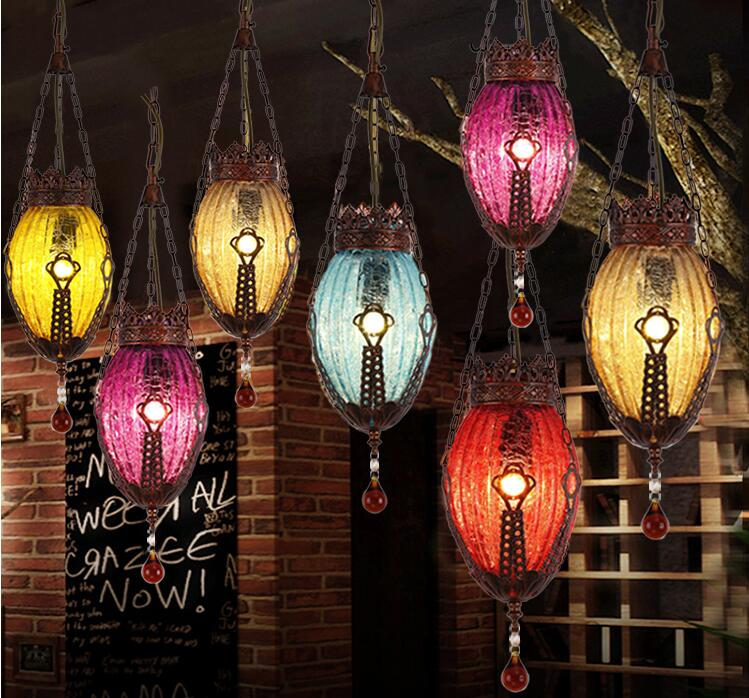 Colored glass chandelier... Aisle balcony lamp. The desk lamp