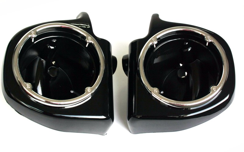 Painted Black Vented Lower Fairing 6.5 Speaker Boxes Pods for Harley Touring FLHT FLHX FLTR