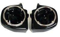 Painted Black Vented Lower Fairing 6.5 Speaker Boxes Pods for Harley Touring FLHT FLHX FLTR