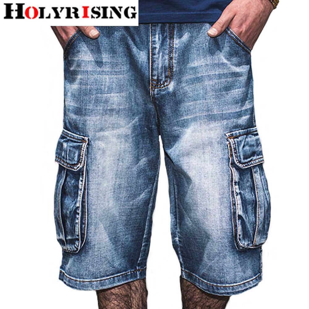 Holyrising, pantalones vaqueros de verano para hombre, Vaqueros desgastados, ropa de calle con bolsillos, pantalones vaqueros con cremallera para hombre, pantalones vaqueros azules hasta la pantorrilla Plus Szie 30-46
