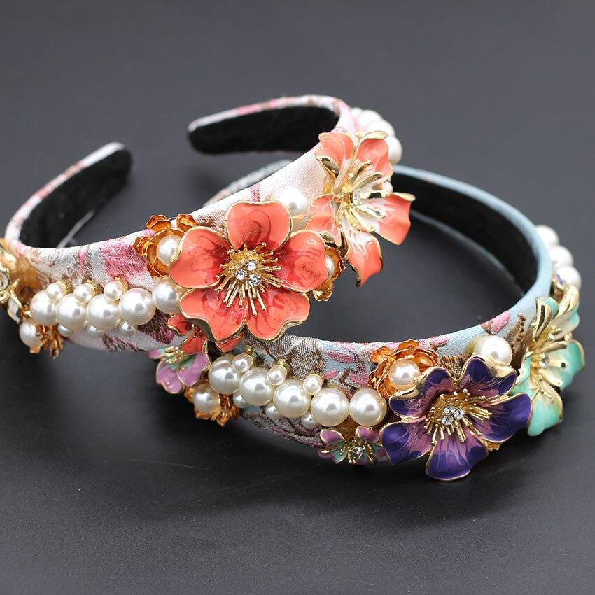 Simple Personality Metal Flower Pearl Geometric Headband Pearl Metal Flower Baroque Headband 766