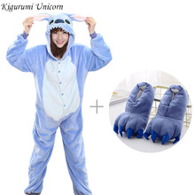 Kigurumi Pajama Adult Animal Unicorn Stitch Onesie Women Men Couple 2019 Winter Pajamas Suit Kegurumi Sleepwear Flannel Pijamas(China)