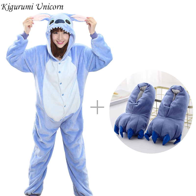 Kigurumi Unicorn Pajama Adult Animal Stitch Onesie Women Men Couple 2019 Winter Pajamas Suit Cat Sleepwear Flannel Pijamas