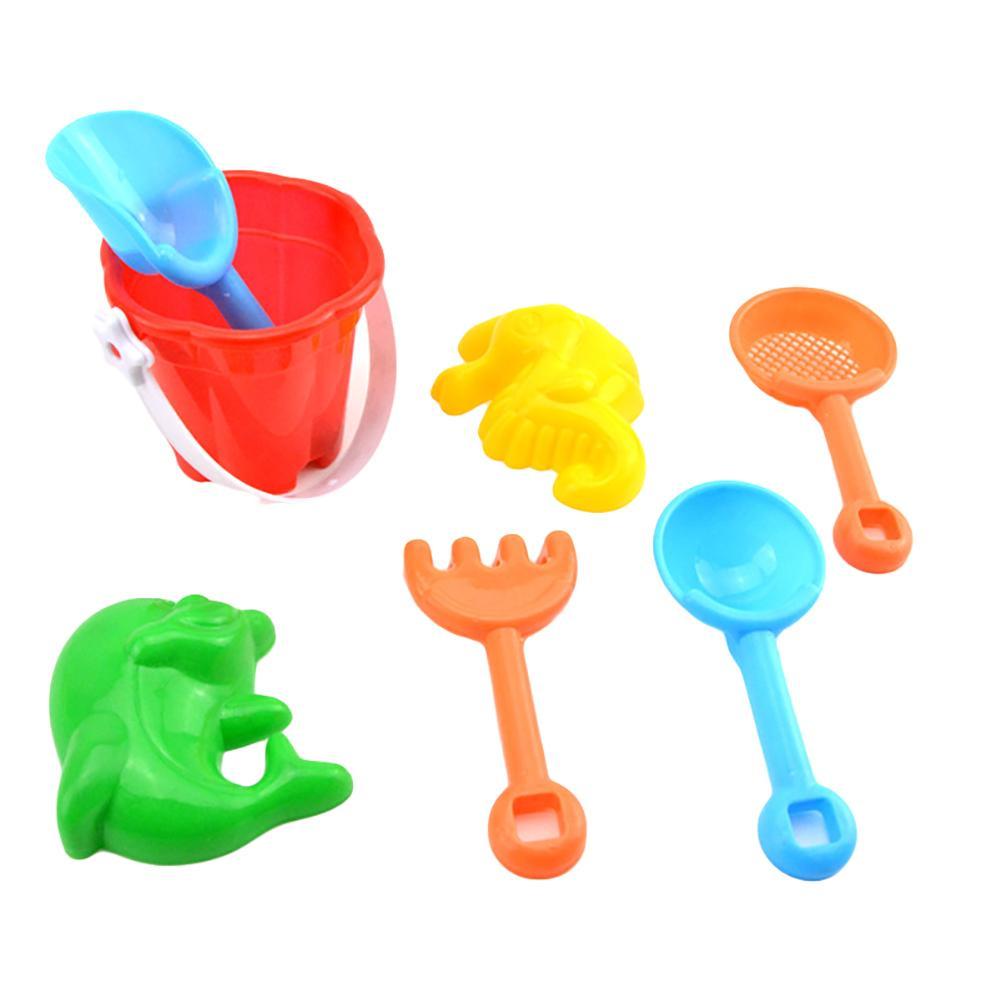 7Pcs Mini Kids Beach Sand Kit Shovel Rake Bucket Molds Garden Sandpit Play Sea Sand Bucket Rake Hourglass Water Table Play Tools
