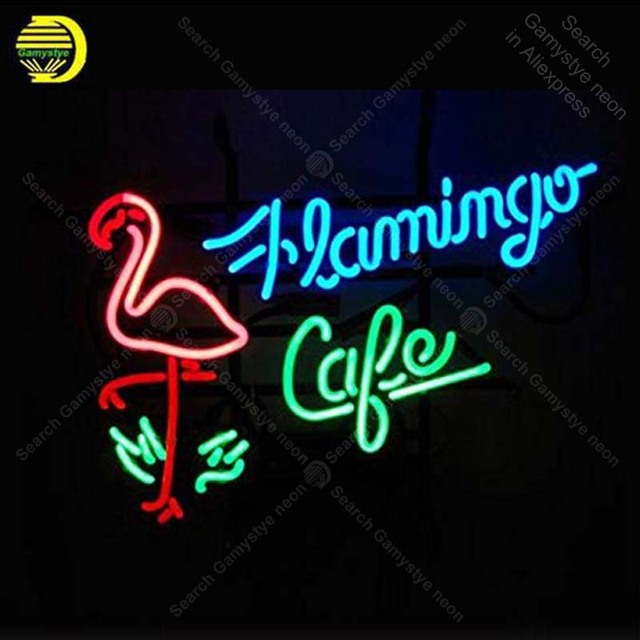 Flamingo Cafe Neon Signs Custom Light Sign Beer Bar Real Gl Lamps Home Bedroom Room Decor Handcraft Art