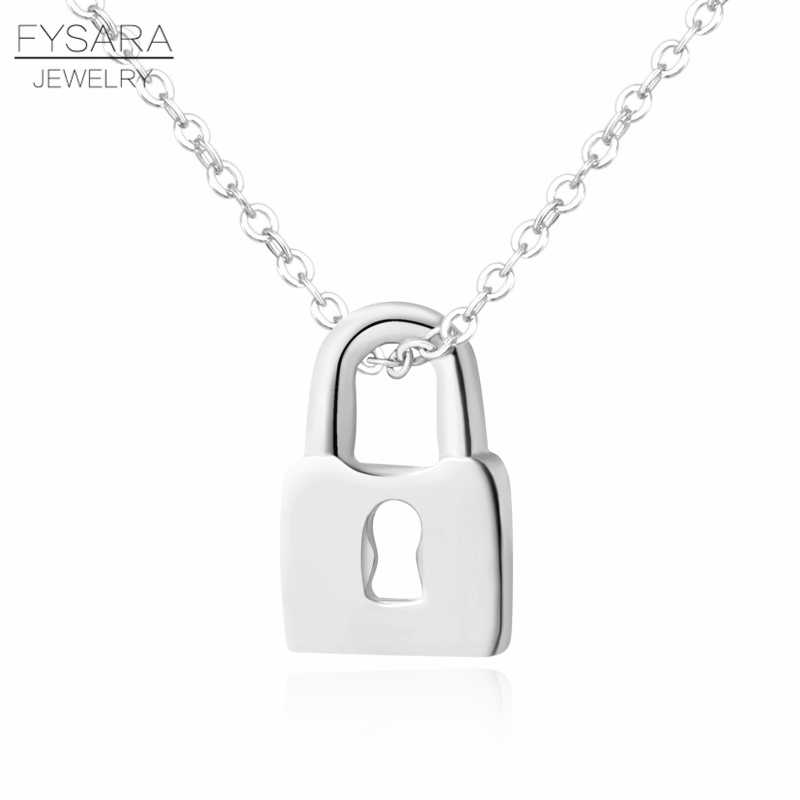 FYSARA Famosa Marca Casal Jóias Love Lock Chave Mini projeto Curto Colar de Pingente Mulheres Colar Bonito Amante Presente de Casamento Do Partido