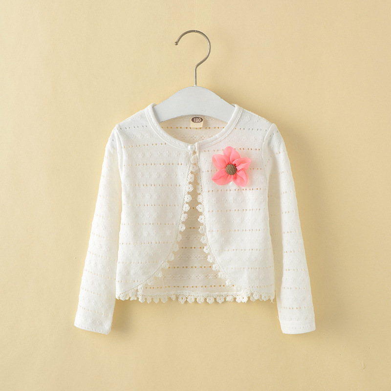Retail 1 10Y Girls White Cardigan Cotton Polyester Thin Long ...