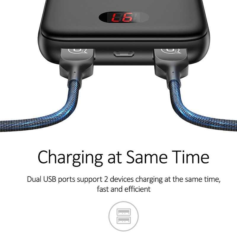 USAMS 10000 mAh قوة البنك ل فون مصغرة Pover البنك 10000 mAh LED عرض تجدد Powerbank بطارية خارجية Poverbank سريع شحن