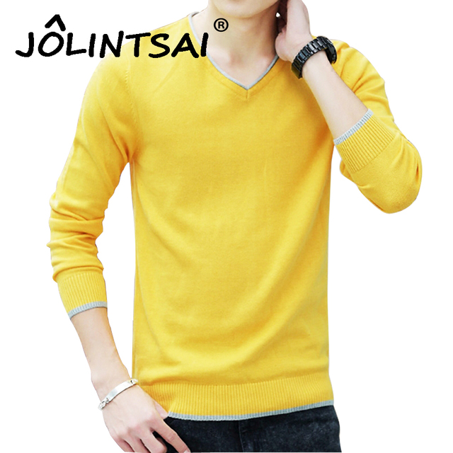 Solid Knitted Men Casual Sweaters Mens V-Neck Knit Warm Pullover Masculino Sueter Pull Homme Jersey Slim Male Polo Sweater