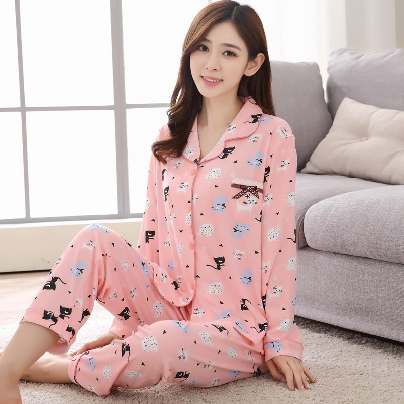 New Autumn Long Sleeve   Pajama     Sets   for Women Cotton Print Sleepwear Suit Femme Cardigan Loungewear Homewear Pijama Mujer Clothes