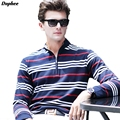 Dophee 2017 Spring Men's Lapel Collar Business Casual POLO Shirts Men's Long-sleeved Striped Slim Shirts