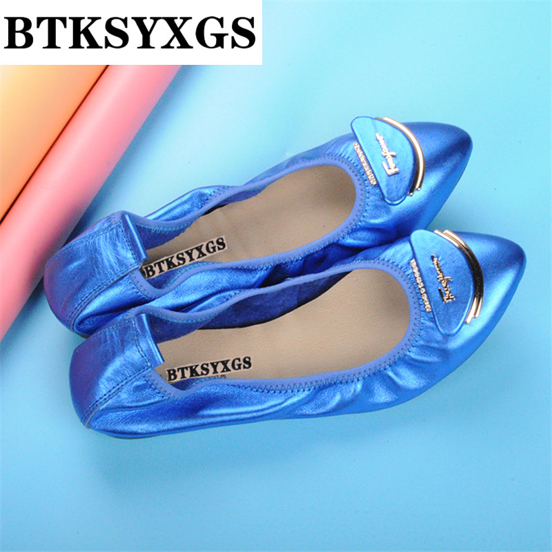 BTKSYXGS 2017 New women's ballet flats ladies shoes 100% genuine leather fashion Head layer cowhide Women casual shoes woman 2016 new fashion camellia women genuine full grain leather flat heel single shoes ladies working leather flowers ballet flats