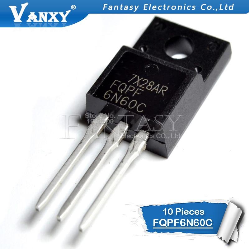 10PCS FQPF6N60C TO-220 6N60C 6N60 TO220 FQPF6N60 TO-220F New MOS FET Transistor