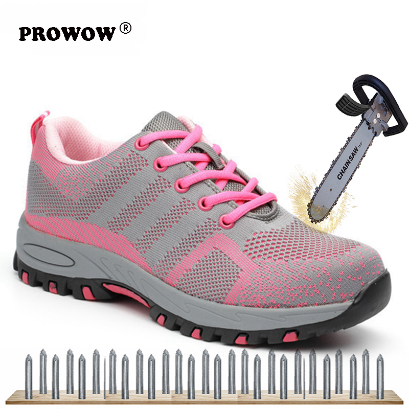 Plus Size 35-46 Women Work Safety Shoes Woman Men Steel Toe Puncture-proof Safety Protective Boots Casual Sneakers 2019 New