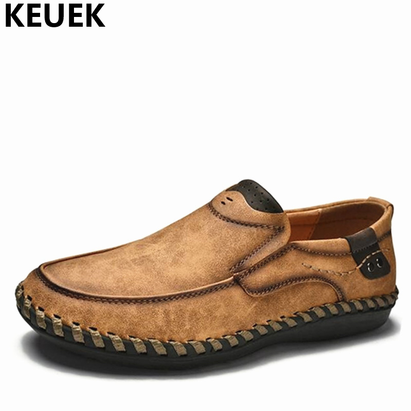 New arrival Spring Men Casual shoes Handmade Breathable Slip-On Loafers Large size Driving shoes British style Leather shoes 01B 2017 new autumn winter british retro men shoes zipper leather breathable sneaker fashion boots men casual shoes handmade