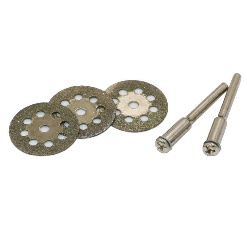 Nueva gran oferta de 10 Uds. De Mini herramienta rotativa de corte de diamante afilado de 22mm, discos de corte, herramientas DIY, accesorios para Dremel con barra de 2 uds.