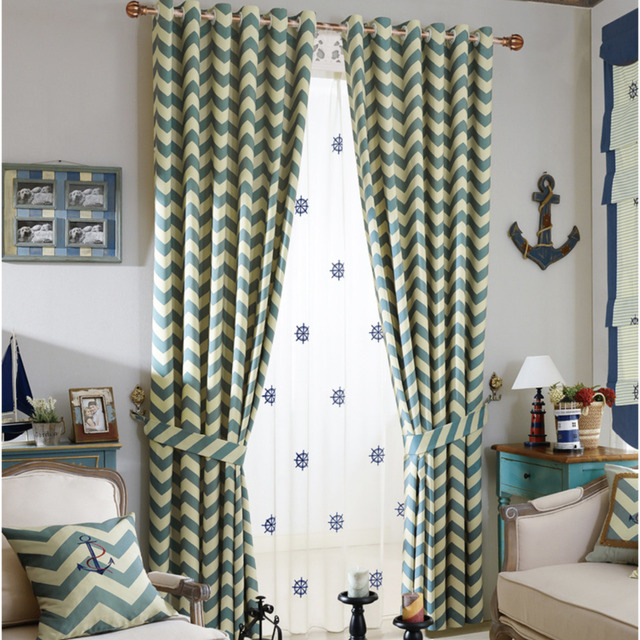 cyan color striped printed thick curtains for living room window curtain fabric for the bedroom kids