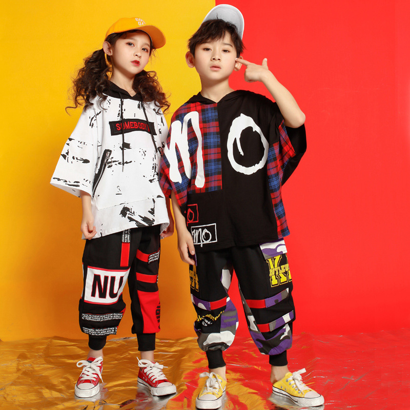 Girls Boys Loose Shirt Pants Shorts Hip Hop Costume Clothing Outfits Dance Costumes For Kids Ballroom Dancing Streetwear
